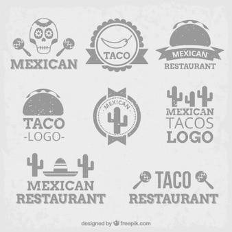 Grijze mexicaanse logo's in plat design
