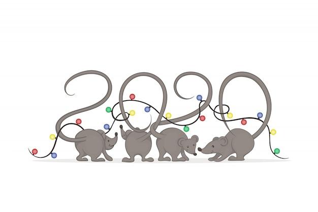 Grijze muizen met staarten die in elkaar passen in de vorm van getallen gewikkeld in gloeiende kerstverlichting