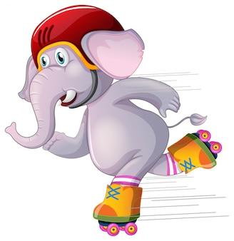Grijze olifant die op wit schaatst