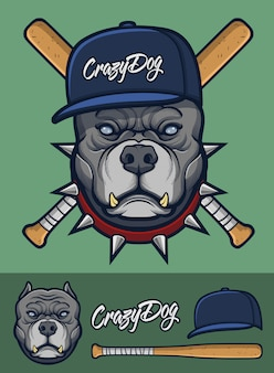 Grijze pitbull met spiked kraag en honkbalknuppels