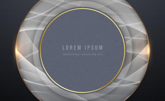 Grijze radiale vormen en gouden frame abstracte cirkelvorm lagen achtergrond