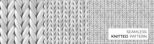 Grijze realistische merino wollen stof. naadloos gebreid gedetailleerd patroon.