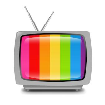 Grijze retro tv isoleerde witte achtergrond