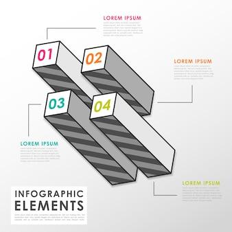 Grijze staafdiagram infographic elementen sjabloon in vlakke stijl