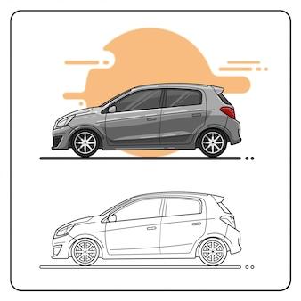 Grijze stadsauto eenvoudig