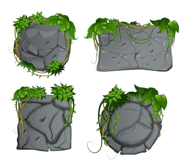 Grijze stenen decoratieve tuinelementen met tropisch regenwoud liaan verlaat cartoon borden set