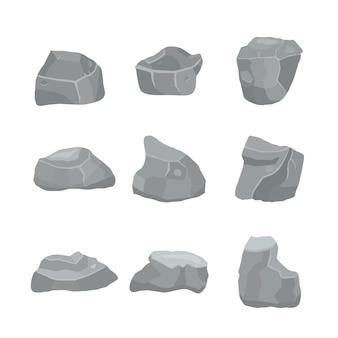 Grijze stenen set verschillende elementen van bergen en rotsen