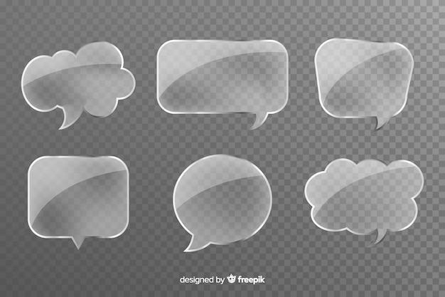 Grijze transparante glazen vormen voor praatjebellen