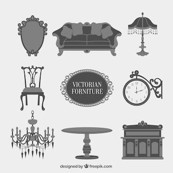 Grijze victoriaanse meubelen icon collection