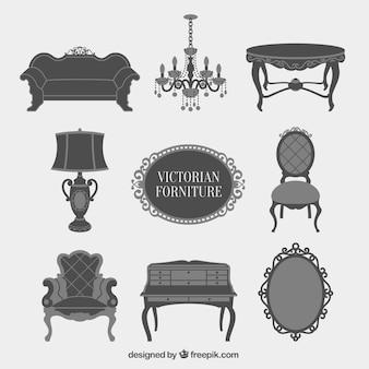 Grijze victoriaanse meubelen icons set