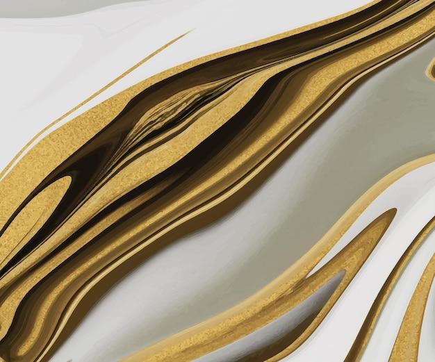 Grijze vloeibare inkt met gouden glitter textuur.
