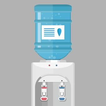 Grijze waterkoeler met blauwe fles