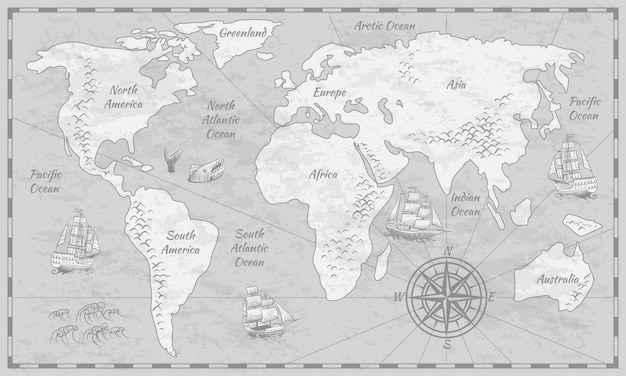 Grijze wereldkaart. aarde oudheid papieren kaart met continenten oceaan zee oude zeilen wereldbol achtergrond