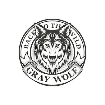 Grijze wolf klassieke vintage logo sjabloon