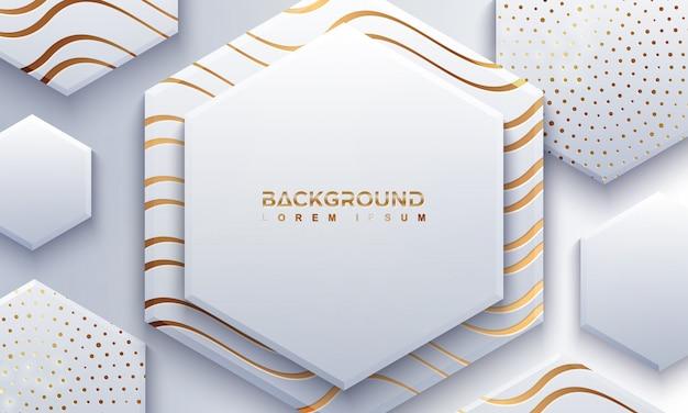 Grijze zeshoek achtergrond met 3d-stijl en golvende lijnen.