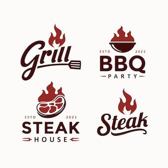 Grill bbq steak logo ontwerpsjabloon set
