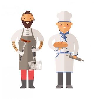 Grill chef-kok en bakker twee mannen van karakter vectorillustratie.