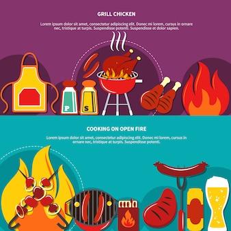 Grill chiken en koken op open vuur plat