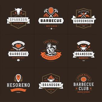 Grill- en barbecue-logo's instellen menukentekens van steakhouse of restaurant met silhouetten van bbq-voedsel