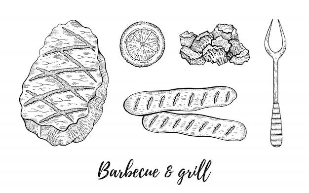 Grill en barbecue reataurant menu schets set.