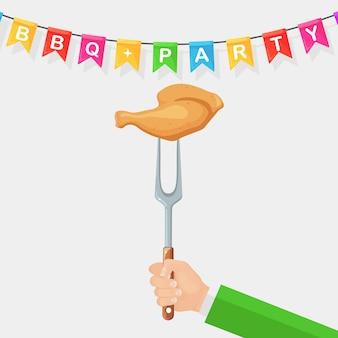 Grill hete kippenham met in hand vork
