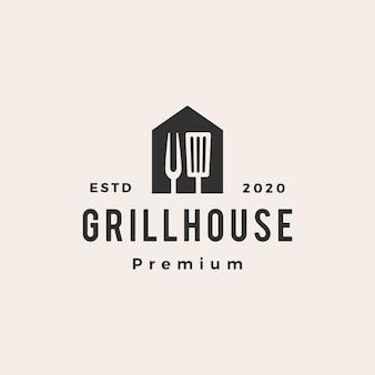 Grill huis spatel vork hipster vintage logo pictogram illustratie