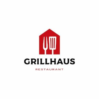 Grill huis vork spatel logo pictogram illustratie