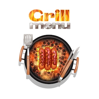 Grill menu ontwerpconcept