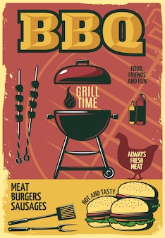 Grill tijd bbq-poster