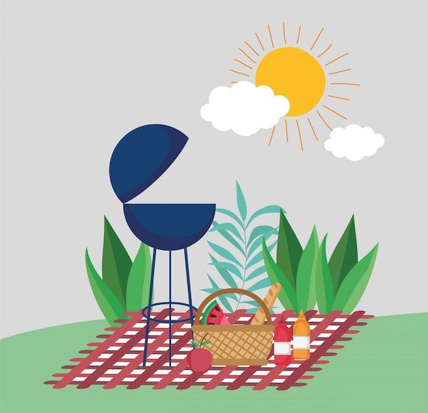 Grillbbq mandvruchten picknick in het park