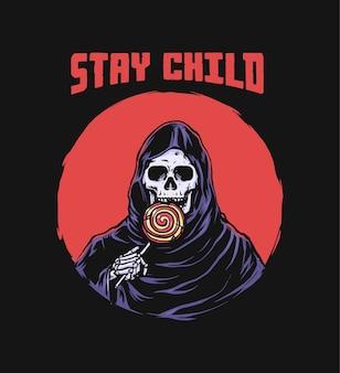 Grim reaper eet lolly retro illustratie