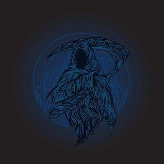 Grim reaper enge dood met illustratie van het zeismes
