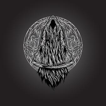 Grim reaper enge dood met twee zeisbladillustratie