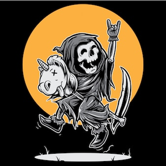 Grim reaper happy riding unicorn toy