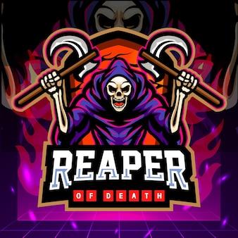 Grim reaper mascotte esport logo ontwerp