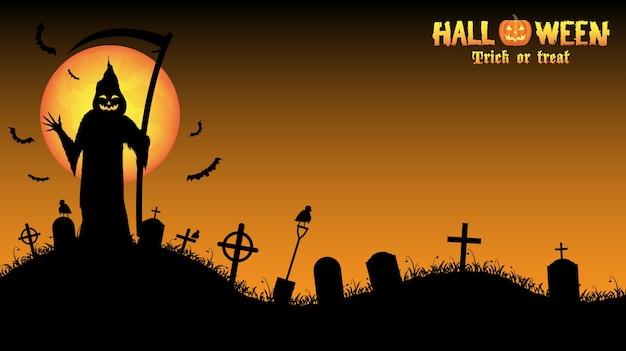 Grim reaper met halloween achtergrond