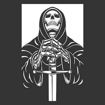 Grim reaper met zwaard karakter illustratie.