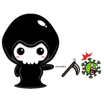 Grim reaper-ontwerp tegen coronavirus