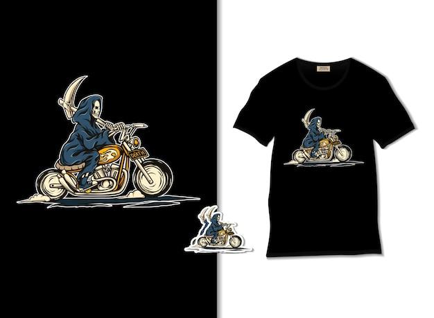 Grim reaper rijden motorfiets illustratie met t-shirt design