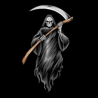 Grim reaper schedel illustratie