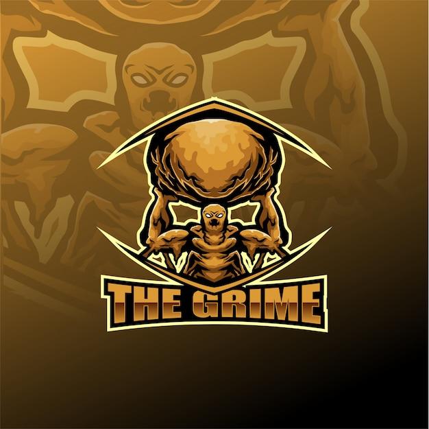 Grime esport mascotte logo sjabloon