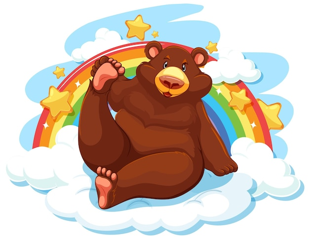 Grizzly beer op de wolk met regenboog Gratis Vector