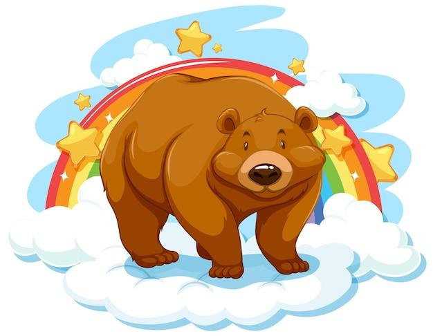 Grizzly beer op de wolk met regenboog