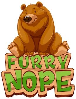 Grizzly beer stripfiguur met furry nope lettertype banner geïsoleerd