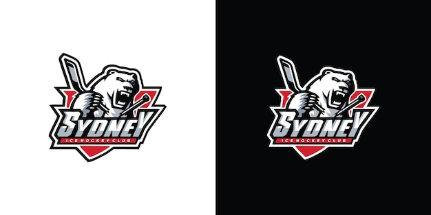 Grizzly hockey sport logo premium vector