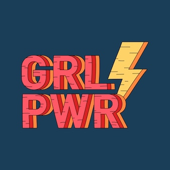 Grl pwr meisje macht badge vector