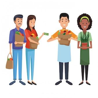 Grocery business cartoon