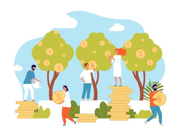 Groei bedrijfsconcept. managers en investeerders geven hun geldinvestering winst vlakke afbeelding. bedrijfsinvesteringen financiële toename, investeerder groeit geld