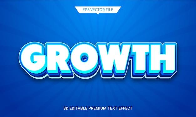 Groei blauwe 3d bewerkbare tekststijl effect premium vector