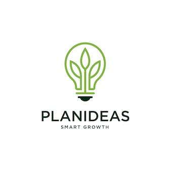 Groei-logo met gloeilamp en bladboom ontwerpsjabloon